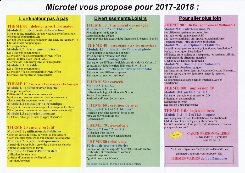 activites microtel 2017 2018
